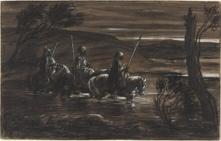 Three Arab Horsemen Crossing a River