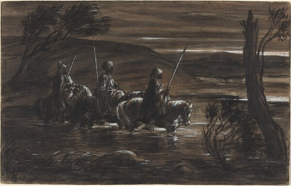 Three Arab Horsemen Crossing a River