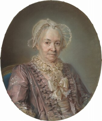 An Elderly Lady in a Mauve Silk Dress