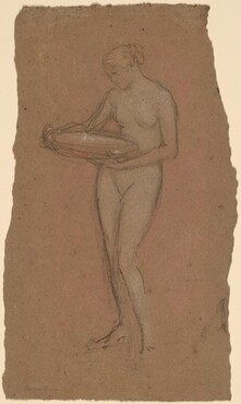 Standing Female Nude Holding a Bowl [recto]
