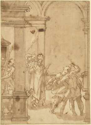 Two Figures Struggling before a King