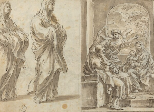 Two Draped Female Figures; Rest on the Flight into Egypt [verso]