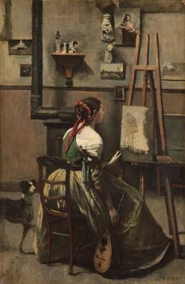Corot's Studio: Woman Seated Before an Easel, a Mandolin in her Hand