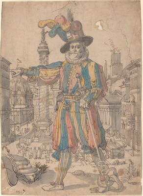 Giovanni Grosso of the Swiss Guards Standing before a View of Rome