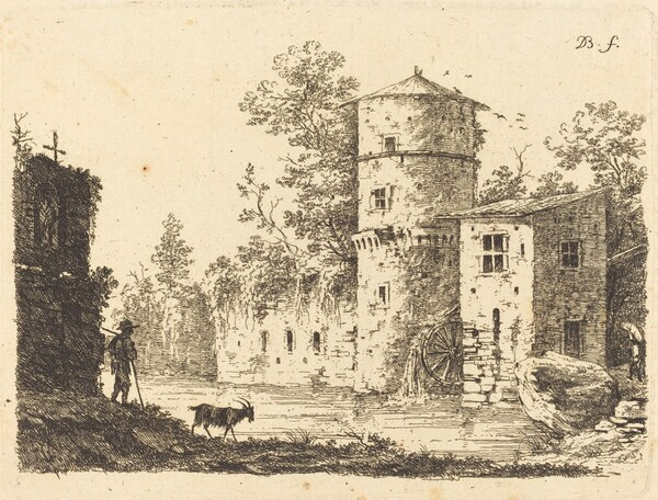 Ancient Tower with a Water Mill
