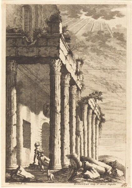 Travelers beside a Ruined Portico