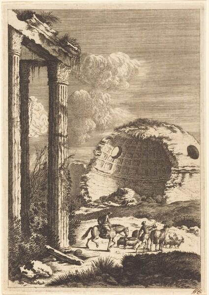 Shepherds Traveling past a Ruined Rotunda