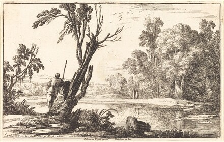 A Man Gazing across a Still Pond