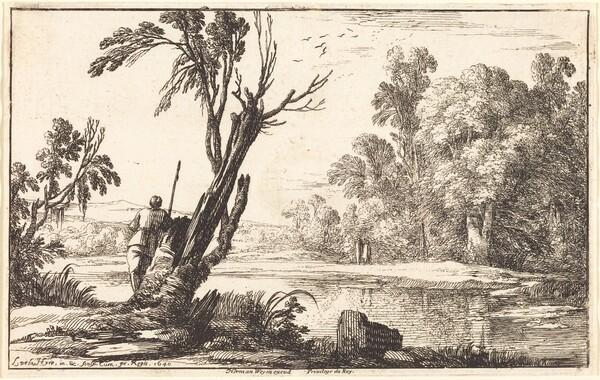A Man Gazing across a Still Pond