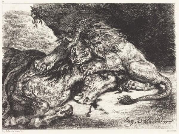 Lion Devorant un Cheval (Lion Devouring a Horse)