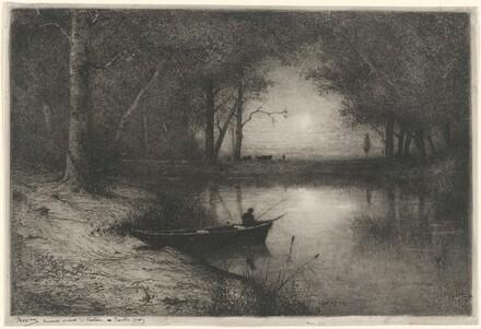 Pêcheur en Canot, au bord d'une Rivière (Fisherman in a Boat)