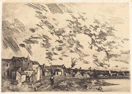 Village sur le bord d'une Riviere