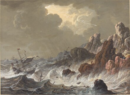 Storm-Tossed Ships Wrecked on a Rocky Coast