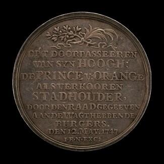 Inscription: William IV, Prince of Orange, Elected Stadtholder [obverse]