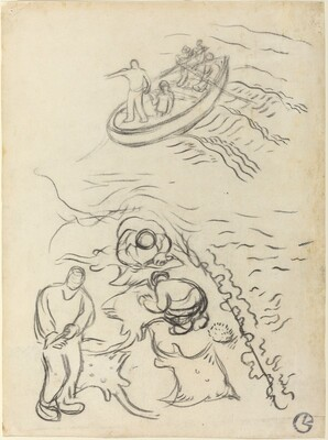 Study for The Fishermen with Men Emptying the Nets (Etude pour Les Pêcheurs et hommes vidant des raies)