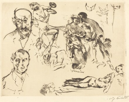 Plate of Sketches, including one of Max Liebermann