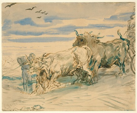 Drover with Oxen Pulling a Cart