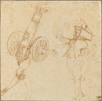 Two Men in Masquerade Costumes: A Cannon Firing and a Cat Inside a Mousetrap