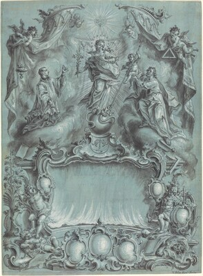 An Elaborate Rococo Setting with the Virgin and Child and Saints Defeating Evil, Heresy, and Profane Love