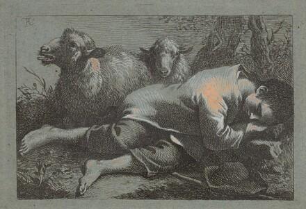 Peasant Boy Asleep near Two Sheep