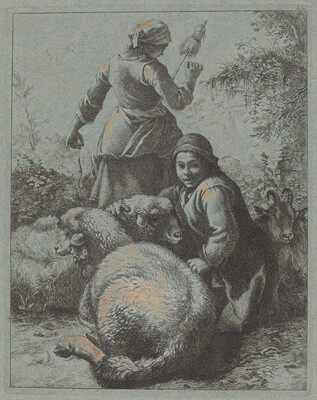Woman Spinner and a Shepherd with Flock