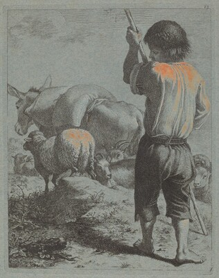 Shepherd with Donkey, Sheep and Goat