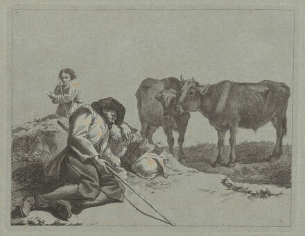 Sleeping Shepherd, Two Calves, and a Peasant Woman