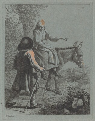 Peasant Woman Seated on a Donkey and a Peasant Man