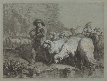 Shepherd with a Sack Driving a Flock