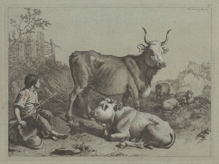 Seated Shepherd with a Bull and Bullock