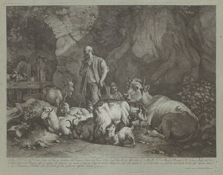 Old, Bald-headed Shepherd, Seated Shepherd Boy and Flock