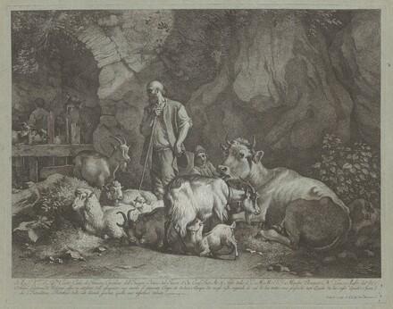 Old, Bald-headed Shepherd, Seated Shepherd Boy and Flock