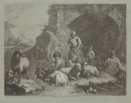 Woman, Shepherd Boys, and  Sheep near an Arch
