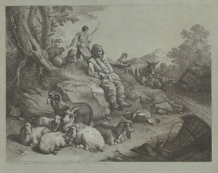 Seated Shepherd before a Flock of Goats