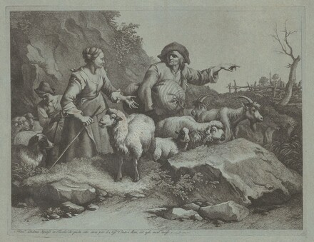 Peasant Man with a Sack and Two Shepherdesses