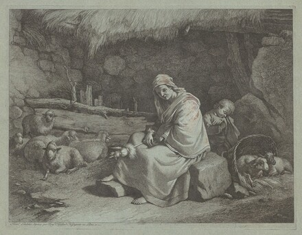 Interior of a Stable with a Seated Spinner and Sleeping Child