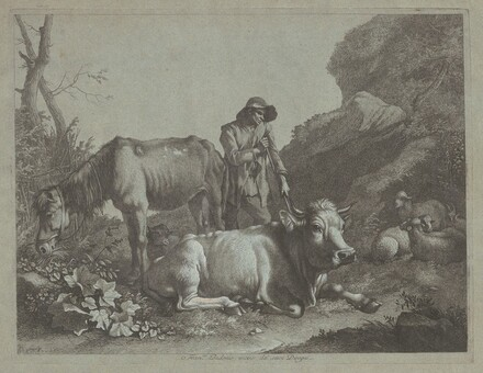 Shepherd Resting on a Walking Stick with an Old Horse and a Reclining Bull