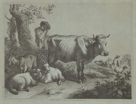 Standing Cow and a Shepherd Boy with Flock