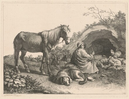 Seated Shepherd with Horse, Dog, Goats and Sheep