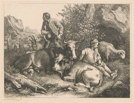 Two Shepherds with a Cow and Calf