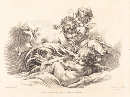 Three Cherubs Playing on Dolphin Like Wave