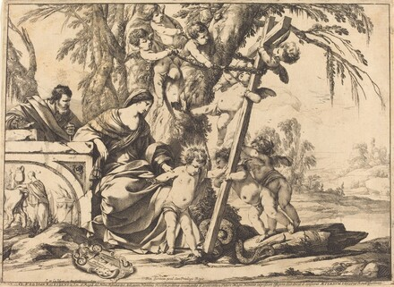 Holy Family with Angels and the Cross, Crushing a Serpent