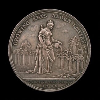 Queen Caroline Watering a Young Palm Tree Grove [reverse]