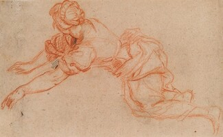 Young Woman Kneeling and Reaching Forward [verso]