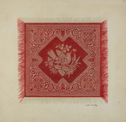 Red and White Table Napkin