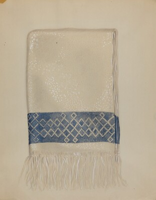 Cotton Towel - Blue Border and Fringe