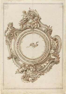 A Rococo Clock with Sirens, Putti, Masks, and a Bird of Paradise Pointer