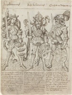 King Arthur, Charlemagne and Godfrey of Boulogne