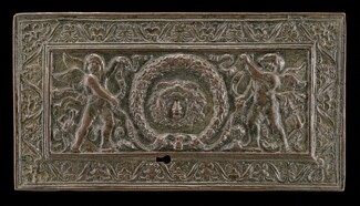 Cover of a writing casket: Geniuses with Wreath and Medusa Head