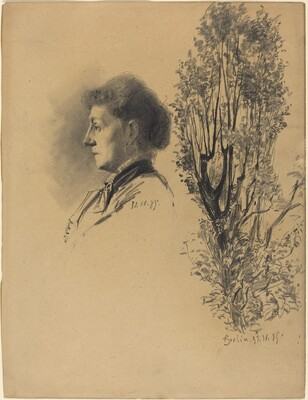 A Woman in Profile and a Pollard Tree in Bloom